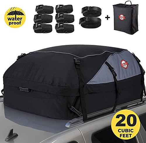 Sailnovo Box da Tetto Auto Box Portapacchi Auto Pieghevole Impermeabile Resistente 900D 580L (580L/ Nylon 900D)