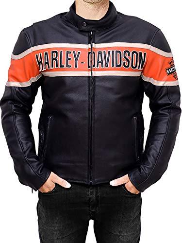 DeColure Chaqueta vintage de piel auténtica Harley Davidson para hombre - Chaquetas de cuero negro para hombre