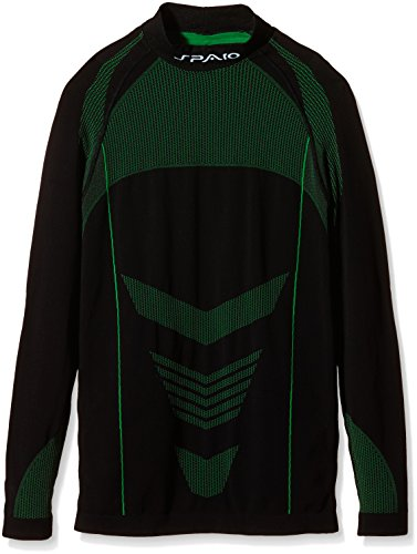 SPAIO Thermo T-Shirt Manches Longues Hommes, Noir/Vert, XXL