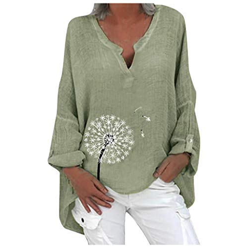 KaloryWee Women Cotton and Linen Blouse Plus Size Long Sleeve V-Neck Loose Fit Soft T-Shirts Lightweight Printed Tunic Tops S-5XL