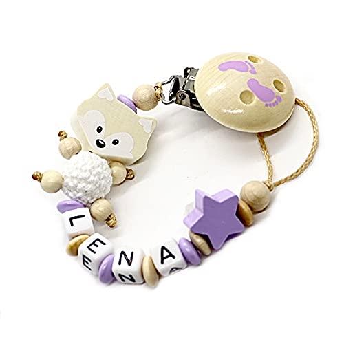 Schnullerkette mit Namen für Junge & Mädchen | VIELE INDIVIDUELLE MODELLE | Personalisierte Nuckelkette mit Wunschnamen (Fuchs, Natur, Füßchen, Stern))