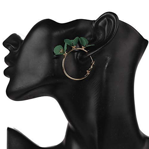 MoHHoM Earrings Women,Irregular Red Green Flowers Hoop Earrings Floral Wedding Party Jewelry Gifts For Girlfriend Charm Fashion Drop Dangle Earrings Jewelry For Women Ladies,Green