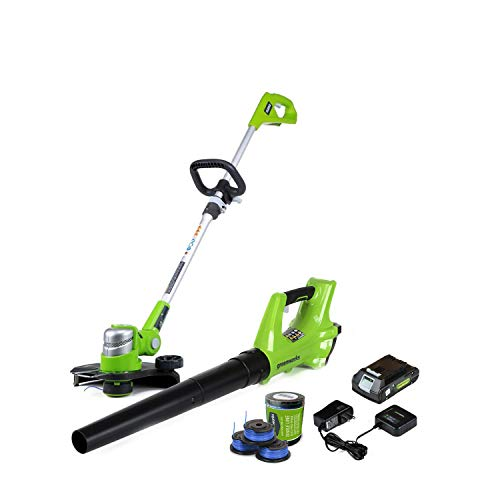 GreenWorks 24V Cordless String Trimmer and Leaf Blower Combo with 3-Pack Spool STBA24B210