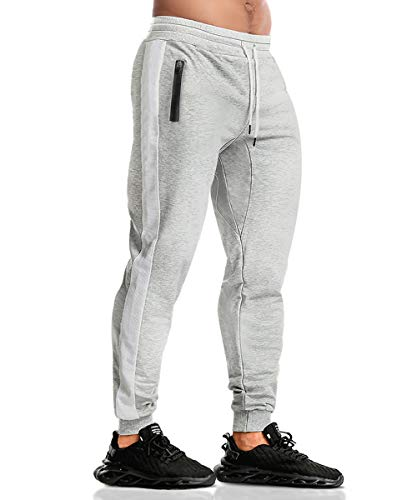 EVERWORTH Men's Gym Workout Stripe Jogger Pants Slim Fit Tapered Sweatpants Running Track Pants with Zipper Pockets Grey XXL