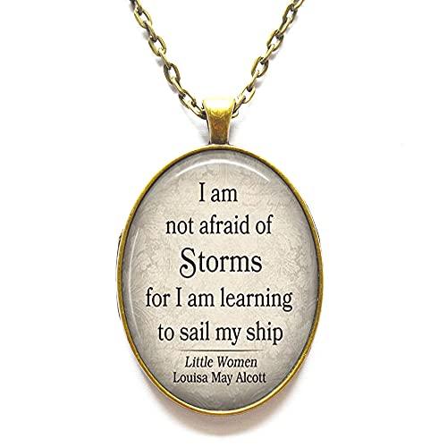 Collar con cita inspiradora de Louisa May Alcott con texto en inglés 'I am learning to sail' con texto en inglés 'I am learning to sail My Ship, N331