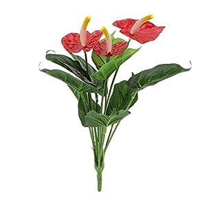 HONG YU 12-Head Artificial Anthurium Flower Floral Decor Home Office Plastic Fake Flower Ornament