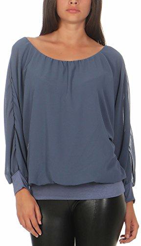 Malito Damen Chiffon Langarm Bluse | Tunika mit weiten Ärmeln | Blusenshirt mit breitem Bund | elegant - schick 6291 (Jeansblau)