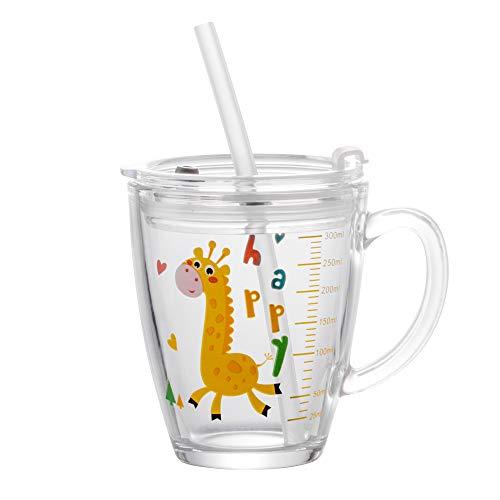 Vasos medidores, 300 ml, pajita de silicona, con asa, taza de té, taza de leche, taza de cristal, diseño de ballena, dinosaurio, vaso de cristal, jirafa, jarra medidora, resistente al frío
