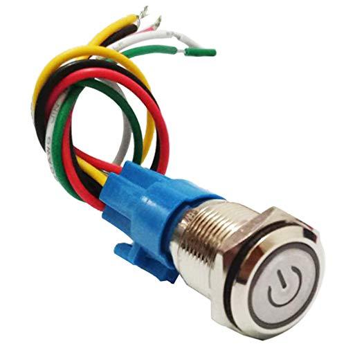 SDENSHI Interruptor de Botón de Enclavamiento de 16 Mm 3V-6VDC Interruptor de Metal LED Verde con Cable