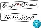 liebesmasche Original KFZ-Kennzeichen Hochzeit Autoschilder Hochzeitsschilder Namensschilder mit Datum und Namen 0193-10