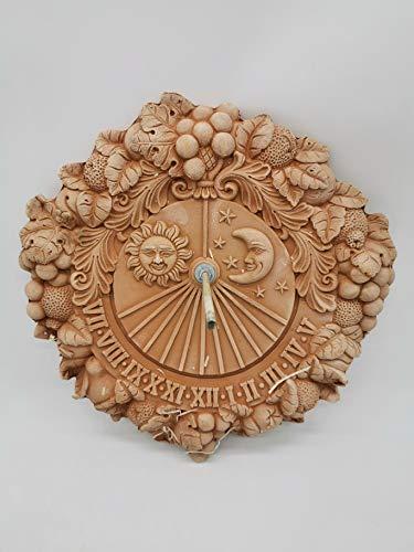Orologio da sole decorativo Meridiana 35 cm in terracotta italiana, resistente al gelo e alle intemperie, qualità artigianale