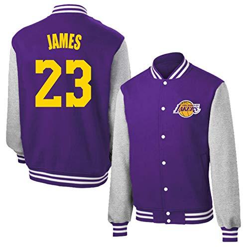 Lebron James 23# Chaqueta de Camisa de Baloncesto para Hombres y Mujeres, Los Ángeles Lakers Camisa de béisbol Retro clásica, Mamba Baloncesto Sworkman Sweatshirt (Purple-L