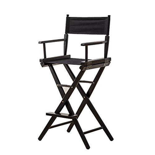 ShJttt-chair or stool Chaise Pliante portative extérieure de Chaise Haute de Directeur en Bois Plein de Chaise Longue de Bureau de Barre d'arrière (Couleur : Noir)