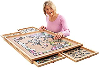 Collections Etc Deluxe Jigsaw Puzzle Workspace Organizer with Drawers - Gift Ideas for Puzzle Lovers