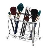 mDesign Make-up organizer per lavabo o armadietto a specchio – Portaoggetti per trucchi in metallo e plastica – Portaspazzole con 3 sezioni e ripiano estraibile – argento e trasparente