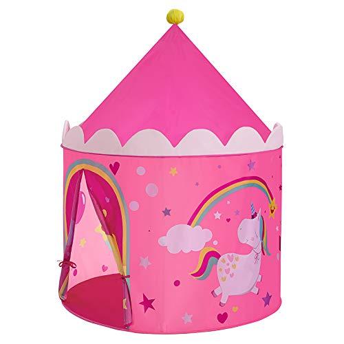 SONGMICS Tenda da Gioco Castello da Principessa per Ragazze e Bambini, Casetta dei Giochi per Interni ed Esterni, con Borsa da Trasporto, Regalo per Bambini, Rosa e Giallo LPT04PY