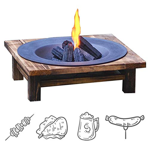 DQY Round cast Iron Brazier,Outdoor Garden Barbecue fire Pit,Camping Bonfire fire Pit,with Solid Wood Bracket,for Picnic Party Backyard Patio