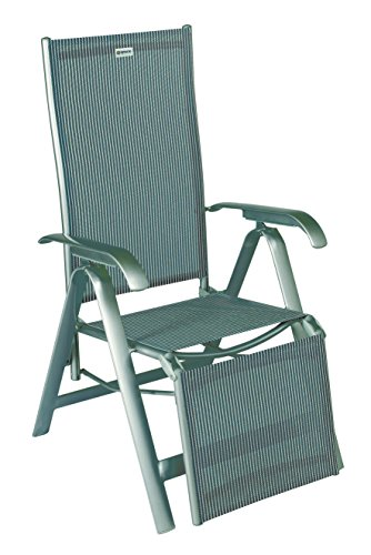 acamp Relaxsessel Acatop | Platin/Grigio | hergestellt in der EU | Gr. 68x61x116cm | Gestell Aluminium mit Armlehnen | Bezug: Acatex-Gewebe | mehrfach verstellbares Rücken- und Fußteil | 7 Positionen
