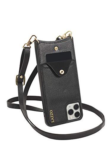 LAZZO Handykette [Dora] - Premium Handyhülle mit Band iPhone 11 Pro - Stylische Handytasche zum Umhängen mit extra Kreditkartenfach (Schwarz - Schlicht)