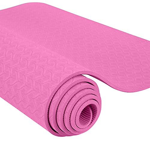 Alfombra de yoga antideslizante Bicolour TPE adaptada a principiantes en medio ambiente Colchón de gimnasia Fitness 1830x610x6mm-Rosa