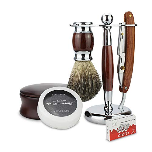 6 In 1 Barber Scheren Gereedschap Mannen Kit Barber Folding Recht Scheermes + Scheerkwast + Borstel Stand Mannen Beard schoonmaak tool
