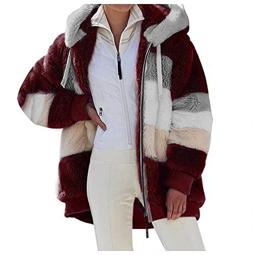 Lenfeshing Abrigo de Felpa con Capucha de Invierno para Mujer Chaqueta Holgada de Felpa de Manga Larga con Cremallera