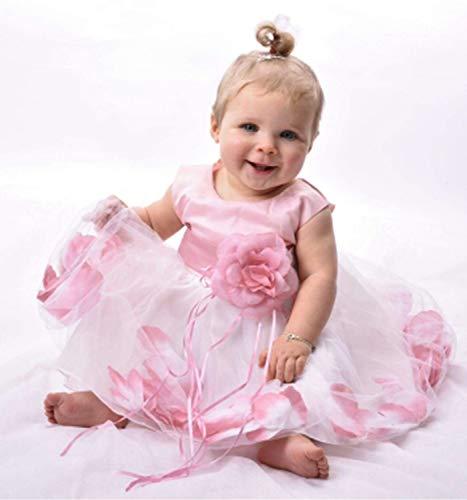 NNJXD Girl Flower Petal Bowknot Bautizo Vestido de Fiesta de la Dama de Honor de la Boda Talla 13-18 Meses Rosa