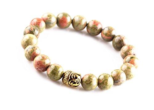 EDENKISS Tibetan Buddhist Buddha Beads Prayer Mala (10mm Bead Unakite Agate Gold Buddha)
