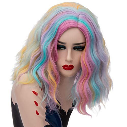 HongHu Women`s Wavy Curly Wig Haircut Rainbow Color Cosplay Costume Party Full Wigs Rainbow Color