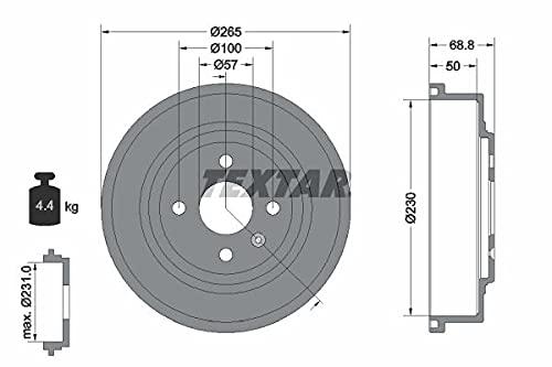 2x TEXTAR HINTEN Bremstrommel für OPEL CORSA C F08, F68