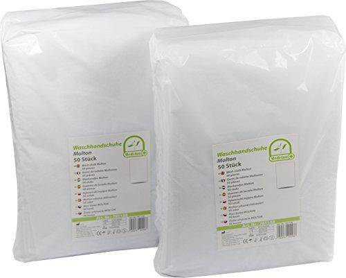 Medi-Inn Einmal-Waschhandschuhe Molton | Einmalwaschlappen für eine schnelle & gründliche Körper- & Intimpflege | 100 Stück
