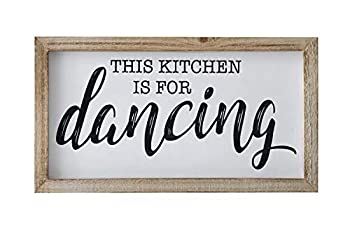 SANY DAYO HOME This Kitchen is for Dancing Funny Kicthen Signs 16 x 9 inches Rustic Wood Framed Wall Hanging Art for Farmhouse Home Décor