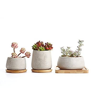 Rachel's choice  Cement Serial Sets Sucuulent Cactus Plant Pots Flower Pots Planters Containers Window Boxes With Bamboo Tray Grey Set of 3