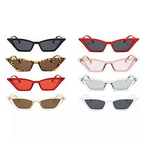 Tianayer Frauen Retro Katzenaugen-Sonnenbrille Weinlese-Quadrat-Farbton Brillen Brillen (8 Paare)