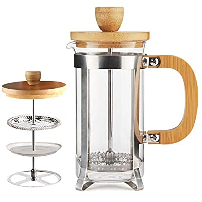34 OZ Bamboo French Press 18/8 Stainless Steel High Borosilicate Plastic-free Carafe 1000ML Espresso Press Coffee/Tea Maker