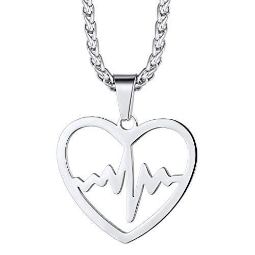 Richsteel Colgante Corazon con latidos ECG Collar Acero para Mujeres Chicas