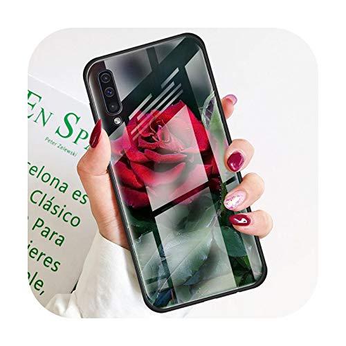 Phonecase - Carcasa para Samsung Galaxy A50, A51 y A71 A72 A70 A31 A30 A10 A40 A41 A21S M31 M51 Tempered Covers Roses Flowers-T02 para Samsung A50
