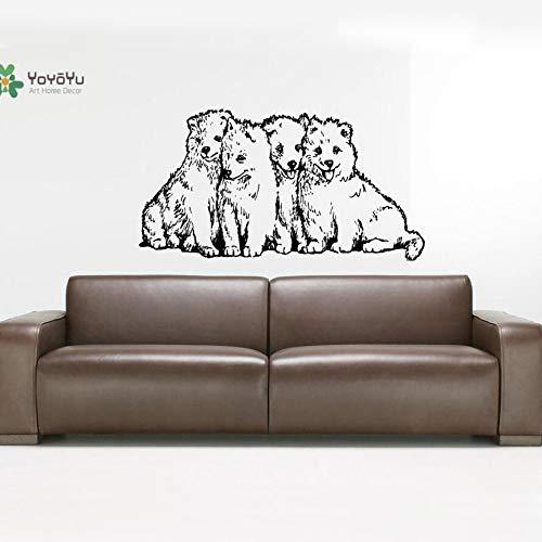 woyaofal Adesivo Murale Adesivo in vinile 4 Baby Samoyed Dog Puppy Breed Famiglia di animali Animali Wall Art Decor 78X42CM