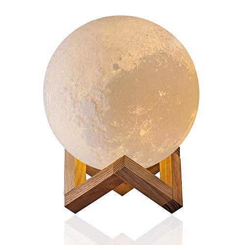 3D Priting Moon Lamp, Evershop Rechargeable LED Night Light Bed Lights Christmas Decoration Childrens Lamps Desk Lamp with Wooden Stand (3.9 inch)