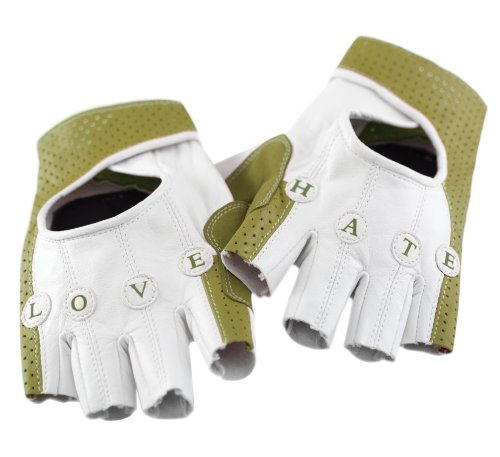 KNOG Love Hate 1/2 Finger Cycling Glove (Cream/Green, Large)