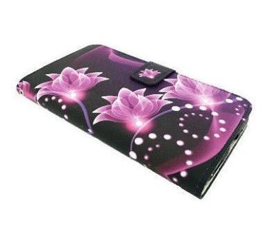 Wallet Pouch Card Holder Cover Case for TracFone Alcatel Pixi Unite A466BG (Purple Lotus) -  FastSun