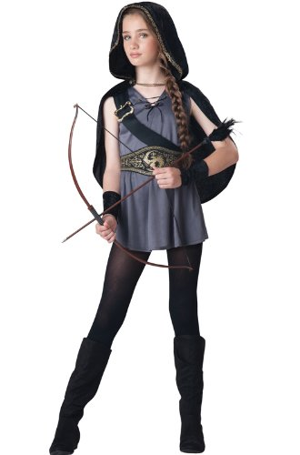 Fun World InCharacter Costumes Tween Kids Hooded Huntress Costume, Grey/Silver M (10-12)