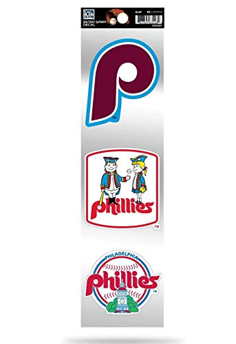 Philadelphia Phillies Triple Retro Throwback Spirit Decals Flat Vinyl Auto Home Sticker Sheet Baseball