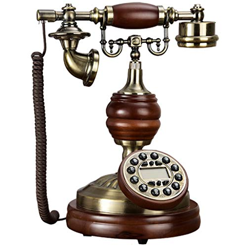 Telefoon retro/telefoon antiek antiek, functieknop, behuizing van metaal uit massief hout en klok van metaal Oro rosa + oro rosa