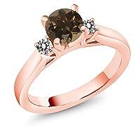 Gem Stone King 1カラット 天然 スモーキークォーツ (ブラウン) 指輪 リング レディース 天然 ダイヤモンド シルバー925 ピンクゴールドコーティング