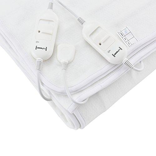 [casa.pro]® Doppelte Elektrische Heizdecke 160x140cm Wärmedecke TÜV geprüft Wärmeunterbett Handwaschbar 2 x 60W 230V 50Hz Weiß