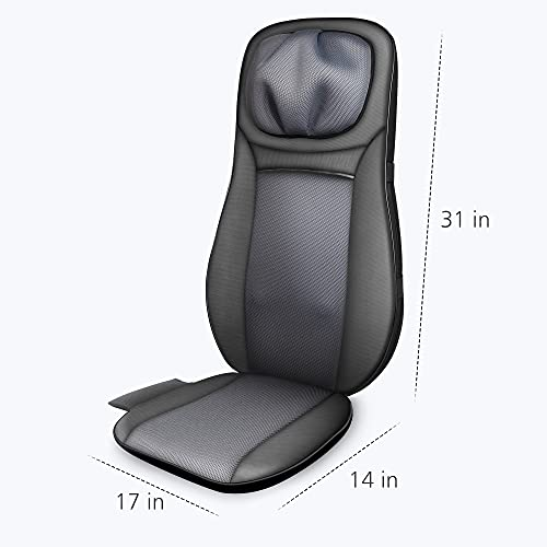 Snailax shiatsu Neck & Back Massager with Heat, Full Back Kneading Shiatsu or Rolling Massage, Massage Chair pad with Height Adjustment, Relieve Muscle Pain for Back Shoulder and Neck AL233