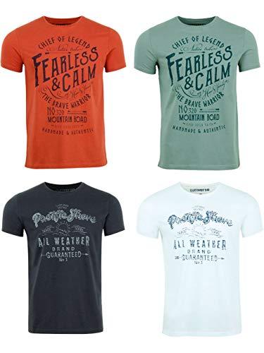 riverso Herren T-Shirt Rundhals RIVLeon 4er Pack O-Neck Kurzarm Print Tee Shirt 100{02b8c0b5e4e6d4bbcf8a6d8eabf599fc0b7369f9eef2878225b05a1e348abd3f} Baumwolle Regular Fit Grün Blau Weiß Grau Rot Orange S - 5XL, Größe:5XL, Farbe:Farbmix 17