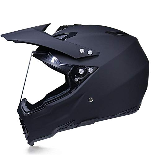 Motocross Rallye Lens Anti-UV veiligheidshelm voor motorfiets snelweg integraalhelm L Matt black monochrome
