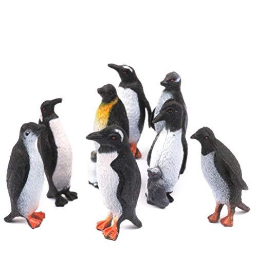 Toyvian Plastic Animal Figure Toy Set  Realistic Arctic Animal Figures  Penguins Figurine Set for Boys and Girl,Set of 8